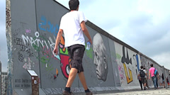 East Side Gallery -  Berlin Wall - stock footage