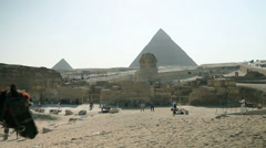 Cart arriving at turistic destination in Egypt Stock Footage