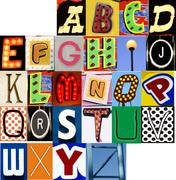 Carnival alphabet set jpg letters type typography characters fonts Stock Photos