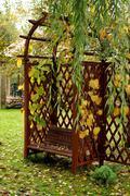 arbour and summer pergola in garden - stock photo