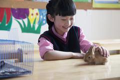 Schoolgirl petting pet rabbit in classroom Stock Photos