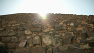 Stock Video Footage of Pyramid huge bricks with sun shining above
