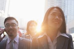 Portrait of smiling business people outdoors, Beijing Stock Photos