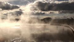 Beautiful Reflection of Sky in Steaming Hot Springs, Yellowstone National Park, Stock Footage
