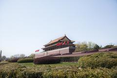 Tiananmen Square, Gate of Heavenly Peace with Mao's Portrait, Beijing, China. Stock Photos