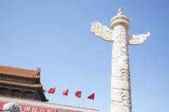 Tiananmen Square, Gate of Heavenly Peace with ornamental pillar, Beijing, China. Stock Photos