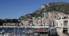 Ultra HD 4K Monaco Skyline, La Condamine, Famous Monaco-Ville, Port Hercules Stock Footage