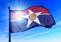 Dallas (usa) lippu heiluttaen tuulessa Piirros