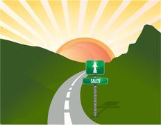 road to sales landscape background - stock illustration