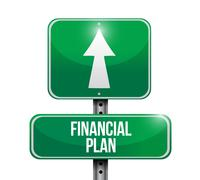 Financial plan road sign illustration design Stock Illustration