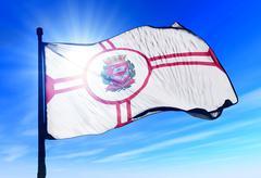 sao paulo city (brazil) flag waving on the wind - stock illustration