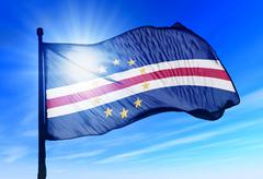 cape verde flag waving on the wind - stock illustration