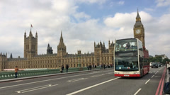 Westminster Bridge - Buses and Taxis Stock Footage