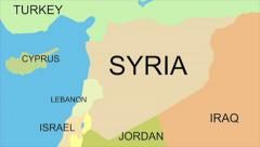 Syria map with capital, cities, neighbors, zoom in, accurate, click for HD - stock footage