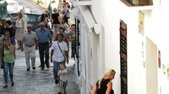 People walking in a village andalusian Stock Footage