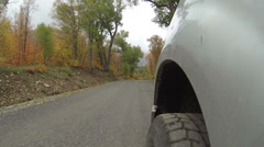 Drive autumn colors POV from wheels fast timelapse HD 0081 Stock Footage