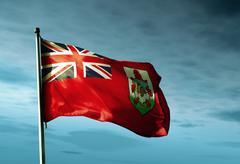bermuda flag waving in the evening - stock illustration