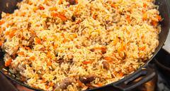 Pilaf (Plov) - Afghan, Uzbek, Tajik national cuisine main dish Stock Photos