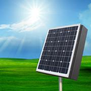 solarcell out door with with sun shining on blue sky - stock photo