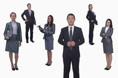 Medium group of smiling business people, portrait, full length, studio shot - stock photo
