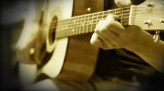 Acoustic Guitar Strings chord Training Practice Stock Footage