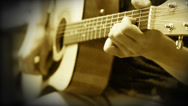 Stock Video Footage of Acoustic Guitar Strings chord Training Practice