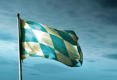 Bavaria (ger) flag waving in the evening Stock Illustration