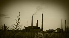 Chemical plant background with Old Film effect Stock Footage