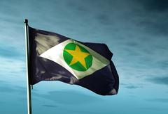 Mato grosso (brazil) flag waving in the evening Stock Illustration