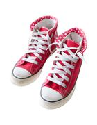 old red  sneaker shoes isolated white - stock photo