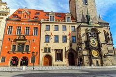Historic buildings and the astronomical clock - stock photo