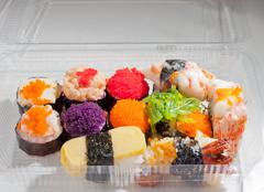 "Japanese food ""sushi"" in plastic box Stock Photos"