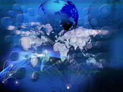 technology of telecommunication created world business network - stock illustration
