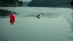 Two swimmers reaching turning point in competition - stock footage