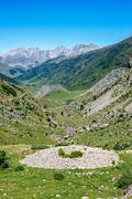 Prehistoric tumulus in the spanish pyrenees Stock Photos