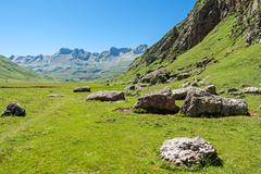 beautiful view of echo's valley in the spanish pyrenees - stock photo