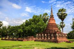 Ruined temple in sukhothai historical park Stock Photos
