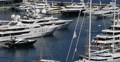 Ultra HD 4K Aerial View Harbour Monaco Port Hercules catamaran boat, ship Footage