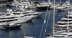 Ultra HD 4K Aerial View Harbour Monaco Port Hercules catamaran boat, ship Stock Footage