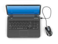 laptop and computer mouse - stock illustration