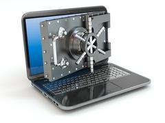 internet security.laptop and opening safe deposit box's door. - stock illustration
