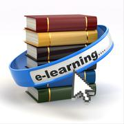 Stock Illustration of e-learning. books and mouse cursor on white background.