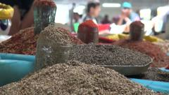 Chorsu bazaar, spices, bazaar, market, Central Asia, silhouettes people Stock Footage