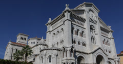 Monaco-Ville Cathedrale de Monaco Saint Nicholas Cathedral sunny day blue sky Stock Footage