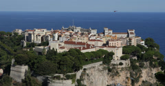 Ultra HD 4K Aerial View Monaco Ville prince Albert II Royal Palace political Stock Footage