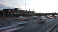 Stock Video Footage of Interstate Highway at Dusk in Denver Colorado