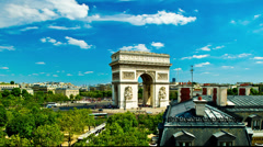 arc du triomphe paris france - stock footage