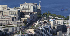 Ultra HD 4K Aerial View Monaco Monte Carlo Skyline Cityscape Water Sport Stock Footage