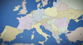 Italy on map of Europe. Country pull out. Blue, click for HD Web Footage