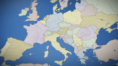 Italy on map of Europe. Country pull out. Blue, click for HD Stock Footage